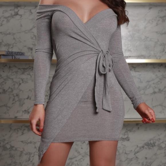 Dresses & Skirts - ➳ Little Light Grey Wrap Tie Dress